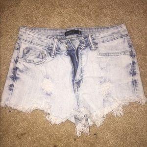 Pants - Acid washed high waisted Buckle shorts